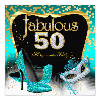 Fabulous 50 Masquerade Party Teal Gold 13 Cm X 13 Cm Square Invitation Card