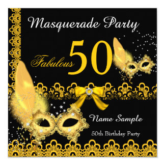 "Fabulous 50 Masquerade Party Yellow Gold Lace 5.25"" Square Invitation Card"