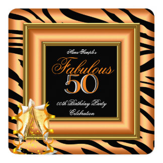 "Fabulous 50 Orange Black Zebra Champagne Birthday 5.25"" Square Invitation Card"