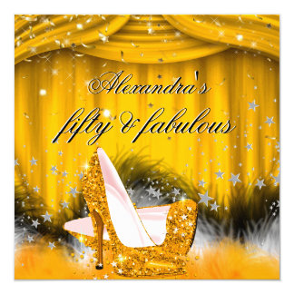 Fabulous 50 Orange Gold High Heels Feather Party 13 Cm X 13 Cm Square Invitation Card