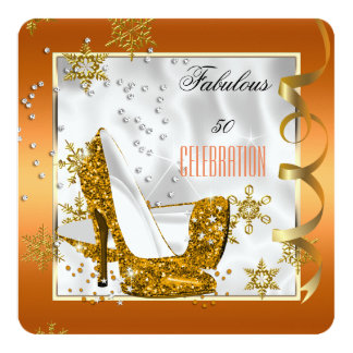 "Fabulous 50 Orange Gold White Heels Birthday Party 5.25"" Square Invitation Card"
