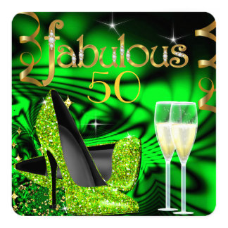 Fabulous 50 Party Abstract Lime High Heels Gold 13 Cm X 13 Cm Square Invitation Card
