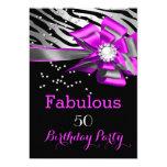 Fabulous 50 Party Pink Zebra Black Silver Pearl 13 Cm X 18 Cm Invitation Card