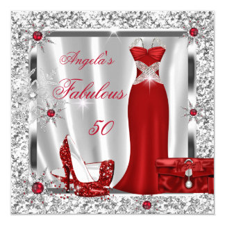 Fabulous 50 Party Red Silver Snowflakes 13 Cm X 13 Cm Square Invitation Card