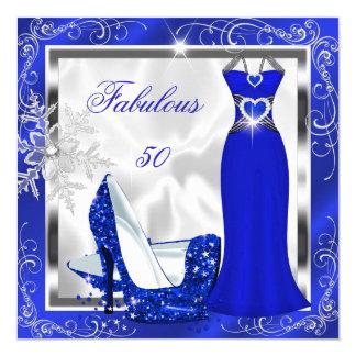 Fabulous 50 Party Royal Blue Silver Dress Heels S9 13 Cm X 13 Cm Square Invitation Card