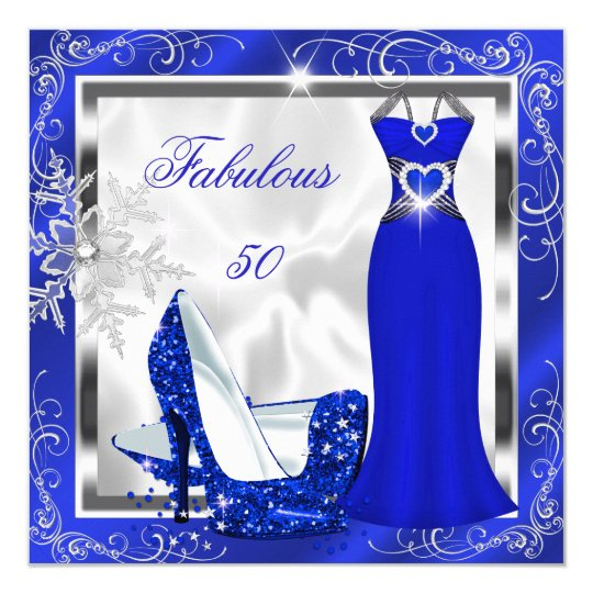 Fabulous 50 Party Royal Blue Silver Dress Heels