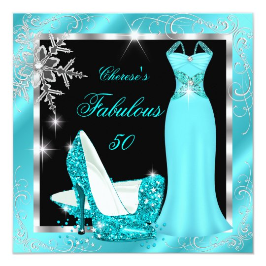 Fabulous 50 Party Teal Blue Silver Dress Heels