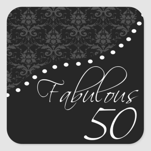 Fabulous 50 Personalized Black Birthday Party Sticker