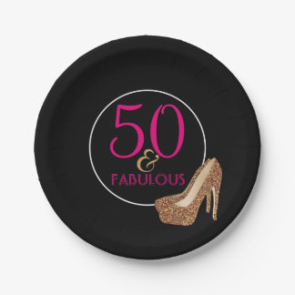 Fabulous 50 Pink Black Gold | 50th Birthday Party Paper Plate