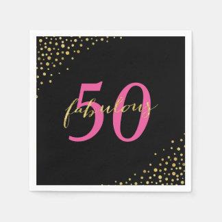 Fabulous 50 Pink & Gold Modern Birthday Paper Napkin