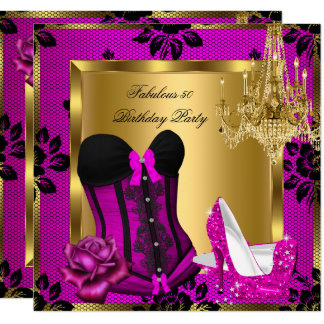 Fabulous 50 Pink plum Heels Chandelier Lace Corset Card