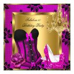 Fabulous 50 Pink plum Heels Chandelier Lace Corset 13 Cm X 13 Cm Square Invitation Card
