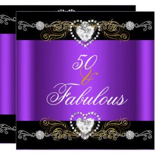 Purple and gold 50th birthday invitations announcements zazzle fabulous 50 purple black silver gold 50th birthday invitation filmwisefo