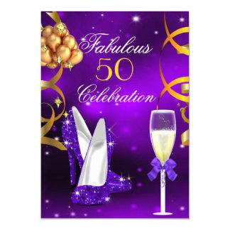 Fabulous 50 Purple Gold Heels Champagne Party 13 Cm X 18 Cm Invitation Card