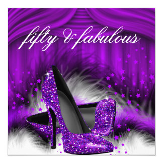 Fabulous 50 Purple High Heels 50th Birthday Party 13 Cm X 13 Cm Square Invitation Card