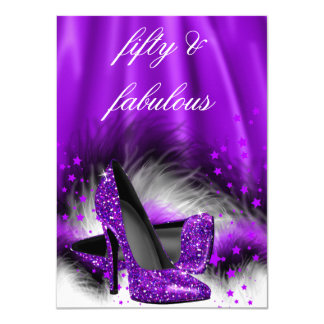 Fabulous 50 Purple Stars High Heels Birthday Party 11 Cm X 16 Cm Invitation Card
