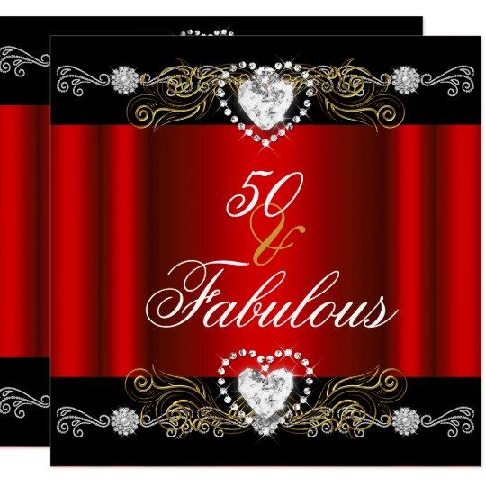 Fabulous 50 Red Black Silver Gold 50th Birthday Invitation