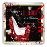 Fabulous 50 Red Black White 50th Birthday Party 2 13 Cm X 13 Cm Square Invitation Card