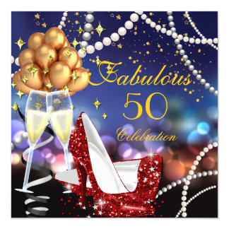 Fabulous 50 Red Heels Champagne Birthday Party 13 Cm X 13 Cm Square Invitation Card