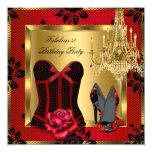 Fabulous 50 Red Heels Chandelier Rose Lace Corset 13 Cm X 13 Cm Square Invitation Card