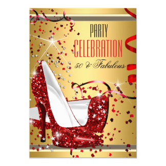 Fabulous 50 Red Heels Gold 50th Birthday Party 13 Cm X 18 Cm Invitation Card