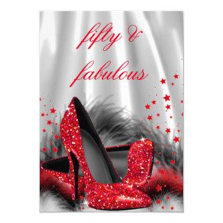 Fabulous 50 Red High Heels Black Silver Birthday 13 Cm X 18 Cm Invitation Card