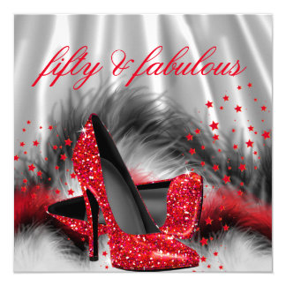 Fabulous 50 Red High Heels Silver Black Silk Party 13 Cm X 13 Cm Square Invitation Card
