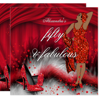 Fabulous 50 Retro Lady Red High Heels Birthday Card