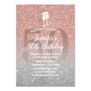 50 and fabulous invitations announcements zazzle uk fabulous 50 rose gold silver glitter birthday invitation filmwisefo