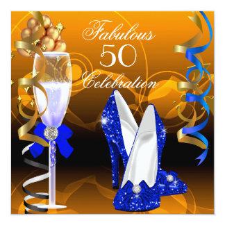 "Fabulous 50 Royal Blue Gold Orange Birthday Party 5.25"" Square Invitation Card"