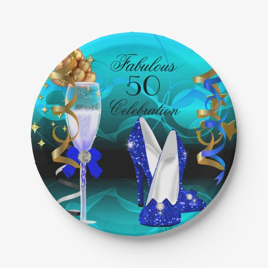 Fabulous 50 Royal Blue Teal Gold Birthday Party