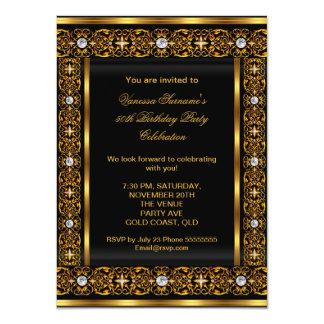 Fabulous 50 Super Elegant Diamond Gold Black 3 4.5x6.25 Paper Invitation Card