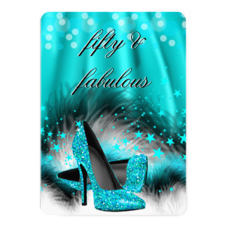 Fabulous 50 Teal Blue Stars High Heels Birthday 13 Cm X 18 Cm Invitation Card