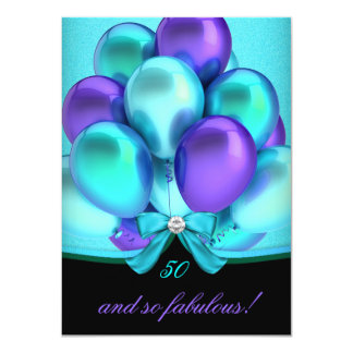 Fabulous 50 Teal Purple Black Balloons Party 4.5x6.25 Paper Invitation Card