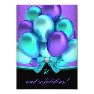 Fabulous 50 Teal Purple Black Birthday Party 2 4.5x6.25 Paper Invitation Card