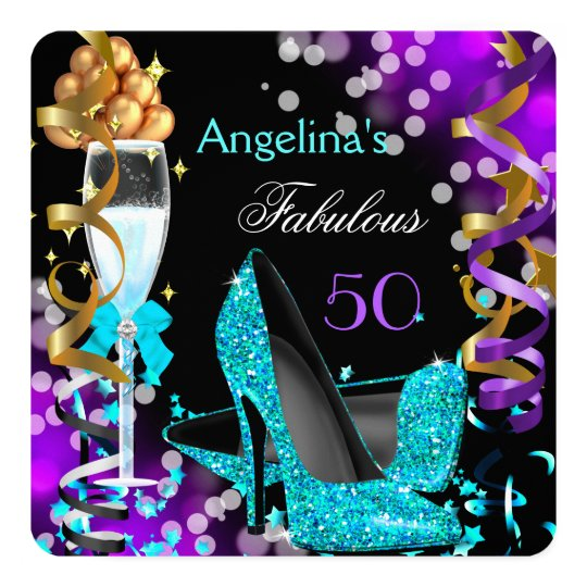 Fabulous 50 Teal Purple Heels Gold Bubbles Party