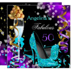Fabulous 50 Teal Purple Heels Gold Bubbles Party Card