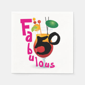 Fabulous 50 Tropical Birthday Party Disposable Napkin