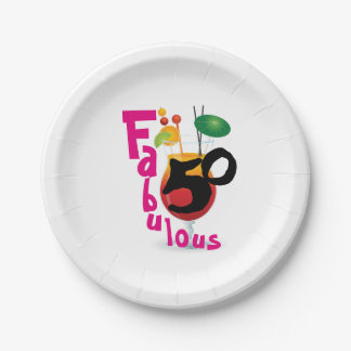 Fabulous 50 Tropical Birthday Party Paper Plate