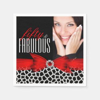 Fabulous 50 Wild Red Black Photo Birthday Party Disposable Napkins