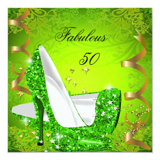 Fabulous 50 Woman's Lime Green Gold Party 2 13 Cm X 13 Cm Square Invitation Card