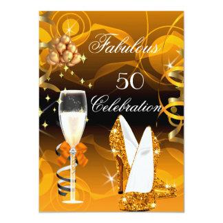 Fabulous 50 Yellow Gold Orange Birthday Party 4.5x6.25 Paper Invitation Card