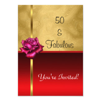 Fabulous 50th Birthday Gold Red Flower 13 Cm X 18 Cm Invitation Card