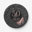 Fabulous 50th Birthday Party | Black Silver Pink Paper Plate