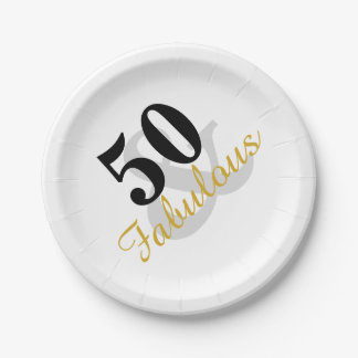 Fabulous 50th Birthday Party Paper Plates 7 Inch Paper Plate