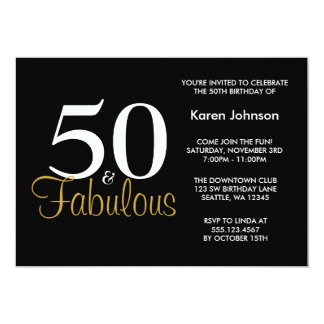 Fabulous 50th Black and Gold Birthday Party Personalized Announcement