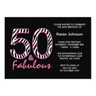 Fabulous 50th Black and Pink Zebra Birthday 13 Cm X 18 Cm Invitation Card