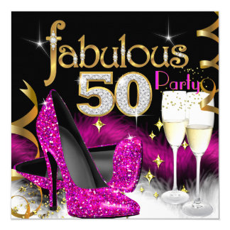 Fabulous 50th Party Glitter Hot Pink Champagne Card