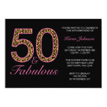 Fabulous 50th Pink Black Leopard Birthday Party 13 Cm X 18 Cm Invitation Card