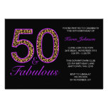 Fabulous 50th Purple Black Leopard Birthday Party Personalised Invitation